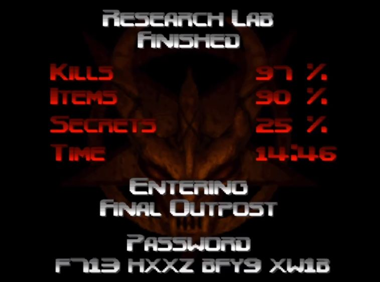 Score screen from Doom 64